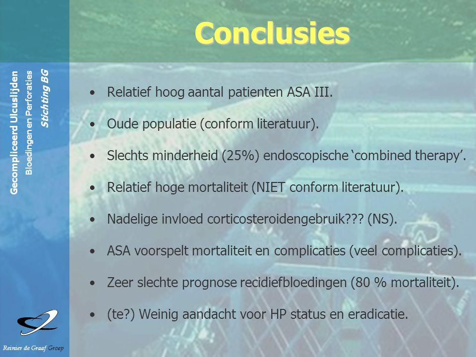 Gecompliceerd Ulcuslijden Bloedingen en Perforaties Stichting BG Reinier de Graaf Groep Relatief hoog aantal patienten ASA III.
