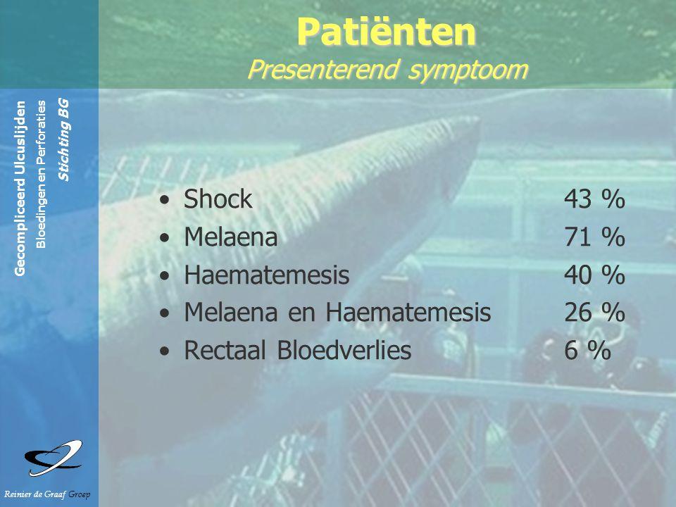 Gecompliceerd Ulcuslijden Bloedingen en Perforaties Stichting BG Reinier de Graaf Groep Patiënten Presenterend symptoom Shock 43 % Melaena 71 % Haematemesis 40 % Melaena en Haematemesis 26 % Rectaal Bloedverlies 6 %