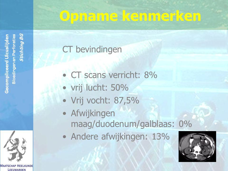 Reinier de Graaf Groep Gecompliceerd Ulcuslijden Bloedingen en Perforaties Stichting BG CT bevindingen CT scans verricht: 8% vrij lucht: 50% Vrij vocht: 87,5% Afwijkingen maag/duodenum/galblaas: 0% Andere afwijkingen: 13% Opname kenmerken