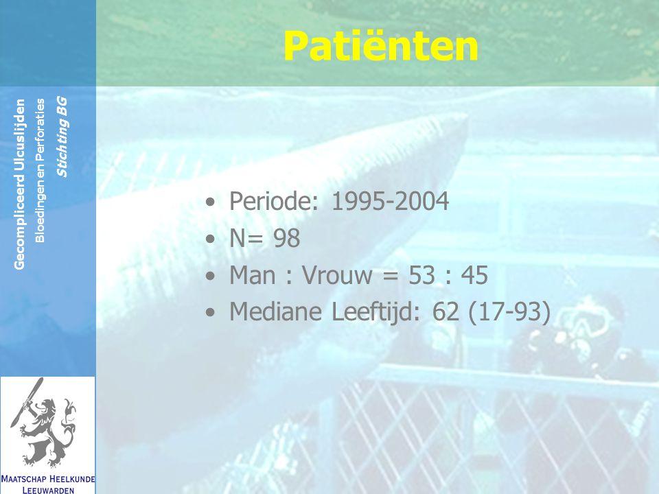 Reinier de Graaf Groep Gecompliceerd Ulcuslijden Bloedingen en Perforaties Stichting BG Patiënten Periode: 1995-2004 N= 98 Man : Vrouw = 53 : 45 Mediane Leeftijd: 62 (17-93)