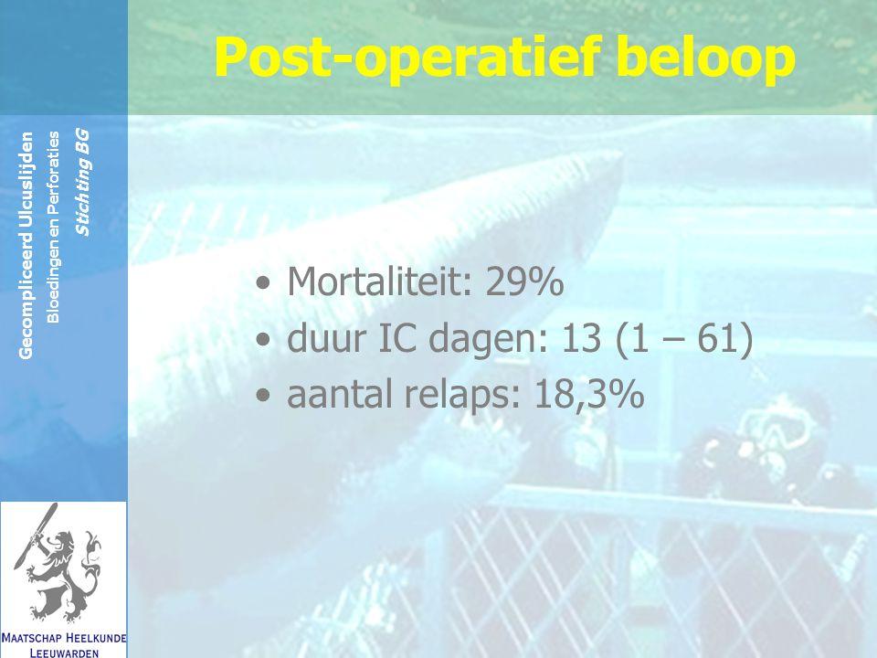 Reinier de Graaf Groep Gecompliceerd Ulcuslijden Bloedingen en Perforaties Stichting BG Post-operatief beloop Mortaliteit: 29% duur IC dagen: 13 (1 – 61) aantal relaps: 18,3%