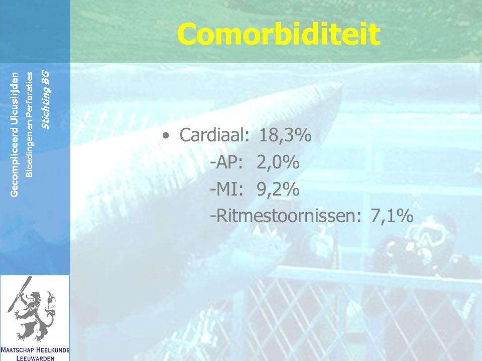 Reinier de Graaf Groep Gecompliceerd Ulcuslijden Bloedingen en Perforaties Stichting BG Comorbiditeit Cardiaal: 18,3% -AP: 2,0% -MI: 9,2% -Ritmestoornissen: 7,1%