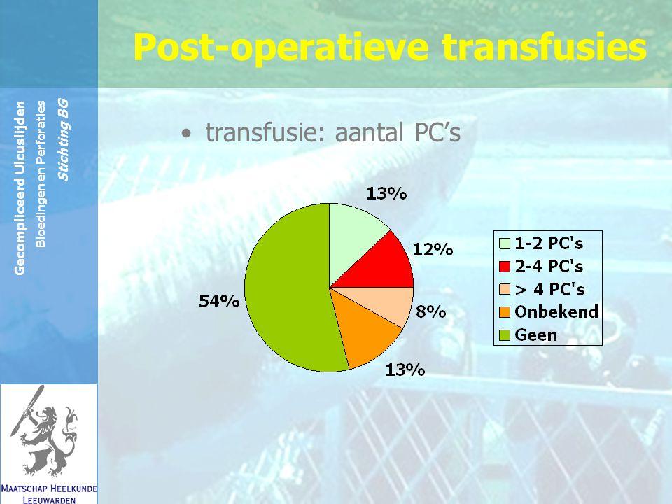 Reinier de Graaf Groep Gecompliceerd Ulcuslijden Bloedingen en Perforaties Stichting BG transfusie: aantal PC's Post-operatieve transfusies