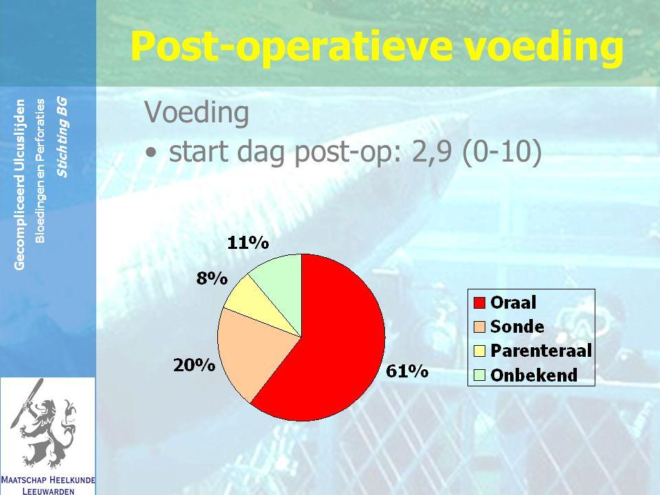 Reinier de Graaf Groep Gecompliceerd Ulcuslijden Bloedingen en Perforaties Stichting BG Post-operatieve voeding Voeding start dag post-op: 2,9 (0-10)