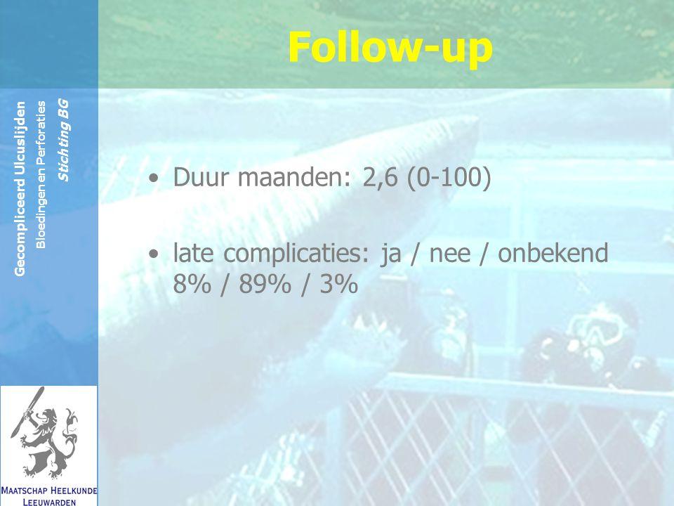 Reinier de Graaf Groep Gecompliceerd Ulcuslijden Bloedingen en Perforaties Stichting BG Follow-up Duur maanden: 2,6 (0-100) late complicaties: ja / nee / onbekend 8% / 89% / 3%