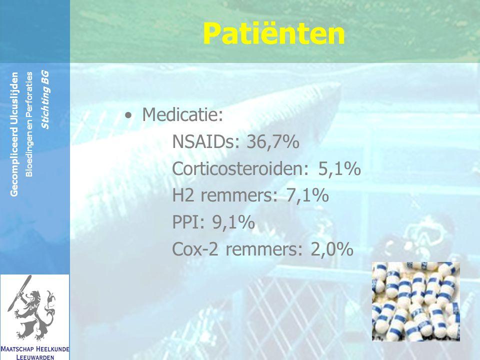 Reinier de Graaf Groep Gecompliceerd Ulcuslijden Bloedingen en Perforaties Stichting BG Patiënten Medicatie: NSAIDs: 36,7% Corticosteroiden: 5,1% H2 remmers: 7,1% PPI: 9,1% Cox-2 remmers: 2,0%