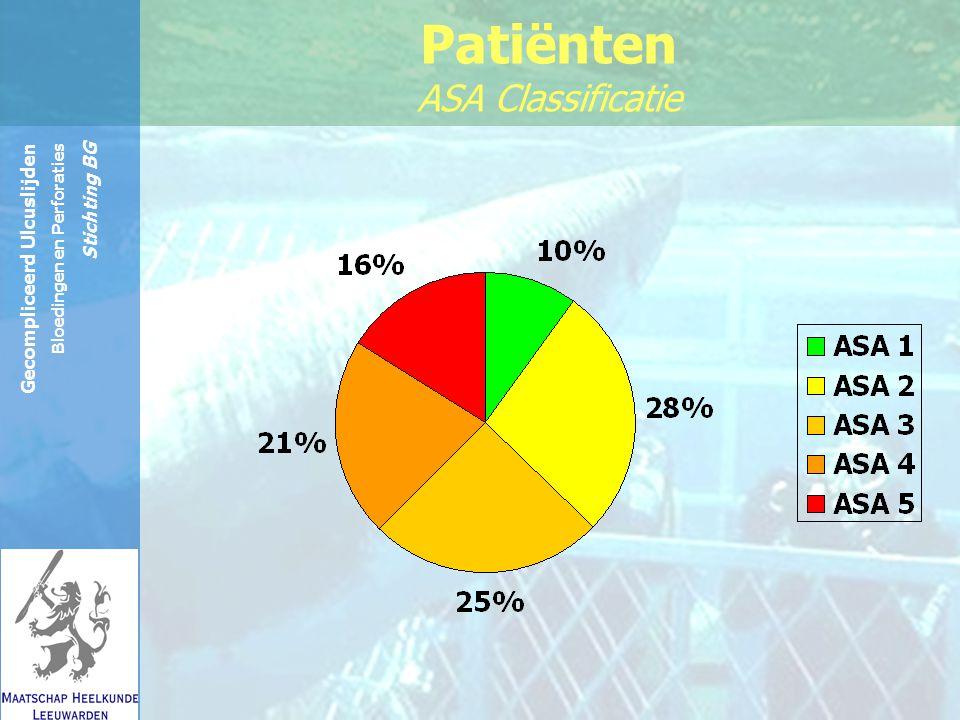 Reinier de Graaf Groep Gecompliceerd Ulcuslijden Bloedingen en Perforaties Stichting BG Voorgaande buikoperaties: 13,3% VG ulcuslijden: 17,3% Patiënten