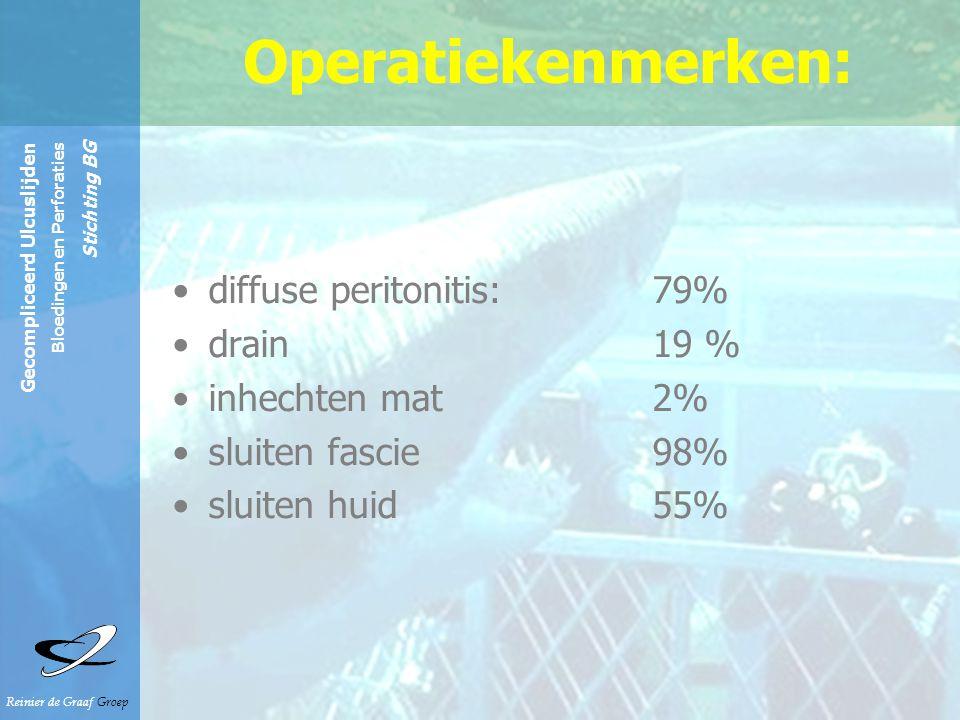 Reinier de Graaf Groep Gecompliceerd Ulcuslijden Bloedingen en Perforaties Stichting BG Operatiekenmerken: diffuse peritonitis:79% drain19 % inhechten