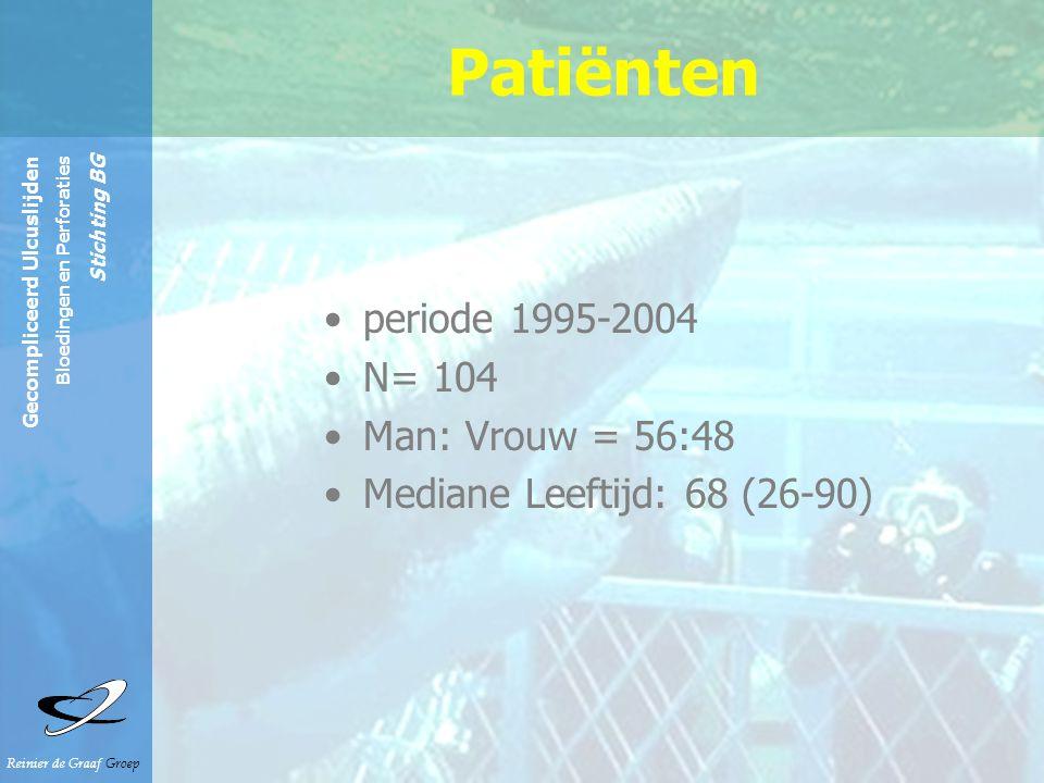 Reinier de Graaf Groep Gecompliceerd Ulcuslijden Bloedingen en Perforaties Stichting BG cardiaal34% pulmonaal18% maligniteit in VG 10.5% rheuma 3.8% alcohol 2.8% Comorbiditeit