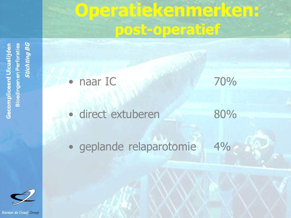 Reinier de Graaf Groep Gecompliceerd Ulcuslijden Bloedingen en Perforaties Stichting BG Operatiekenmerken: post-operatief naar IC 70% direct extuberen