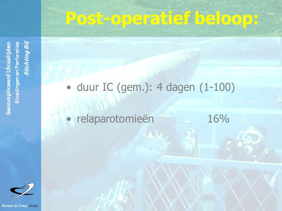 Reinier de Graaf Groep Gecompliceerd Ulcuslijden Bloedingen en Perforaties Stichting BG Post-operatief beloop: duur IC (gem.): 4 dagen (1-100) relapar