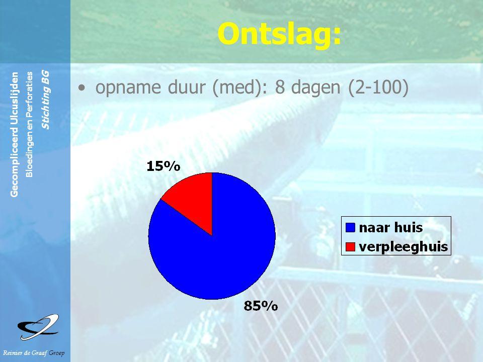 Reinier de Graaf Groep Gecompliceerd Ulcuslijden Bloedingen en Perforaties Stichting BG Ontslag: opname duur (med): 8 dagen (2-100)