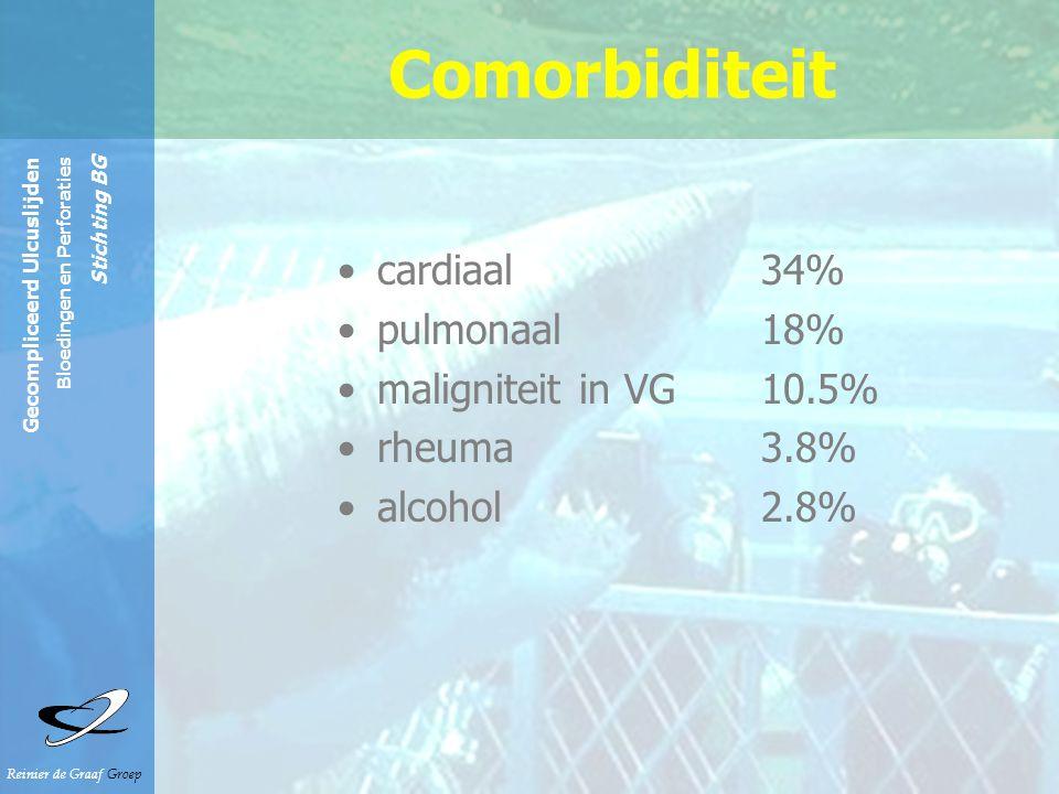 Reinier de Graaf Groep Gecompliceerd Ulcuslijden Bloedingen en Perforaties Stichting BG cardiaal34% pulmonaal18% maligniteit in VG 10.5% rheuma 3.8% a