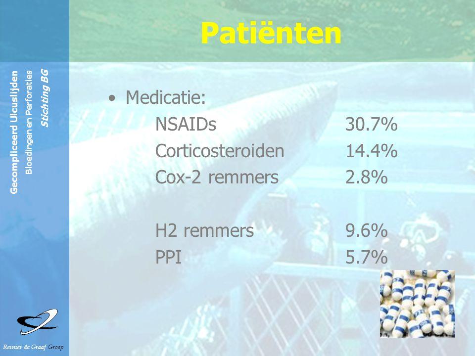 Reinier de Graaf Groep Gecompliceerd Ulcuslijden Bloedingen en Perforaties Stichting BG Patiënten Medicatie: NSAIDs 30.7% Corticosteroiden14.4% Cox-2