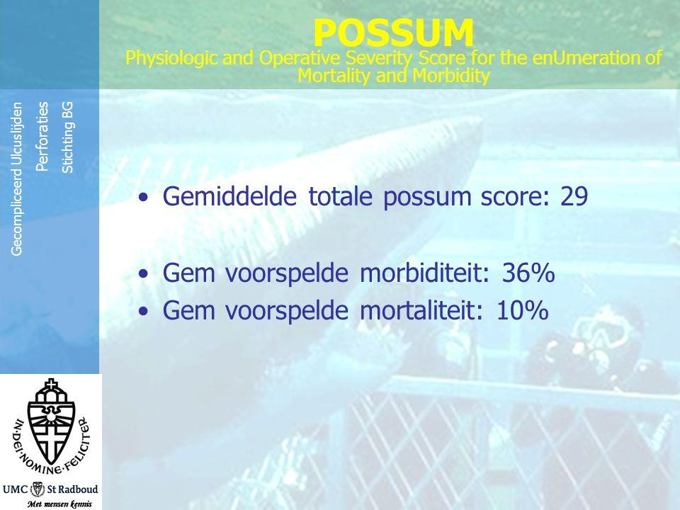 Reinier de Graaf Groep Gecompliceerd Ulcuslijden Perforaties Stichting BG POSSUM Physiologic and Operative Severity Score for the enUmeration of Morta