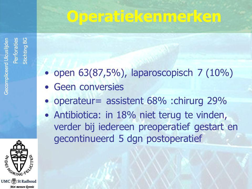 Reinier de Graaf Groep Gecompliceerd Ulcuslijden Perforaties Stichting BG open 63(87,5%), laparoscopisch 7 (10%) Geen conversies operateur= assistent
