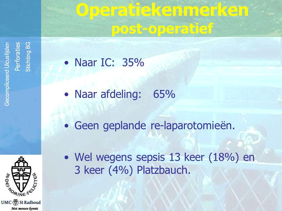 Reinier de Graaf Groep Gecompliceerd Ulcuslijden Perforaties Stichting BG Operatiekenmerken post-operatief Naar IC: 35% Naar afdeling: 65% Geen geplan