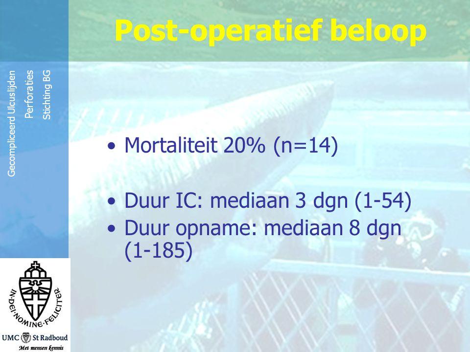 Reinier de Graaf Groep Gecompliceerd Ulcuslijden Perforaties Stichting BG Post-operatief beloop Mortaliteit 20% (n=14) Duur IC: mediaan 3 dgn (1-54) D