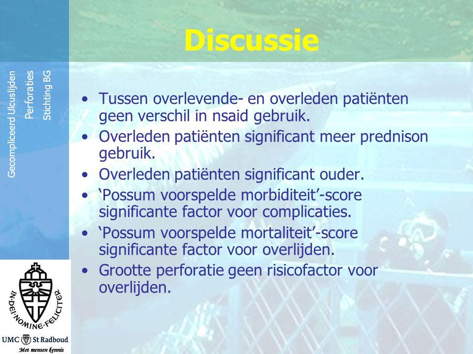Reinier de Graaf Groep Gecompliceerd Ulcuslijden Perforaties Stichting BG Discussie Tussen overlevende- en overleden patiënten geen verschil in nsaid