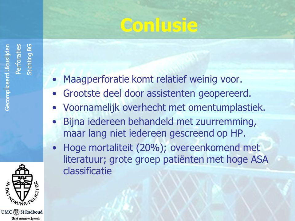 Reinier de Graaf Groep Gecompliceerd Ulcuslijden Perforaties Stichting BG Conlusie Maagperforatie komt relatief weinig voor. Grootste deel door assist