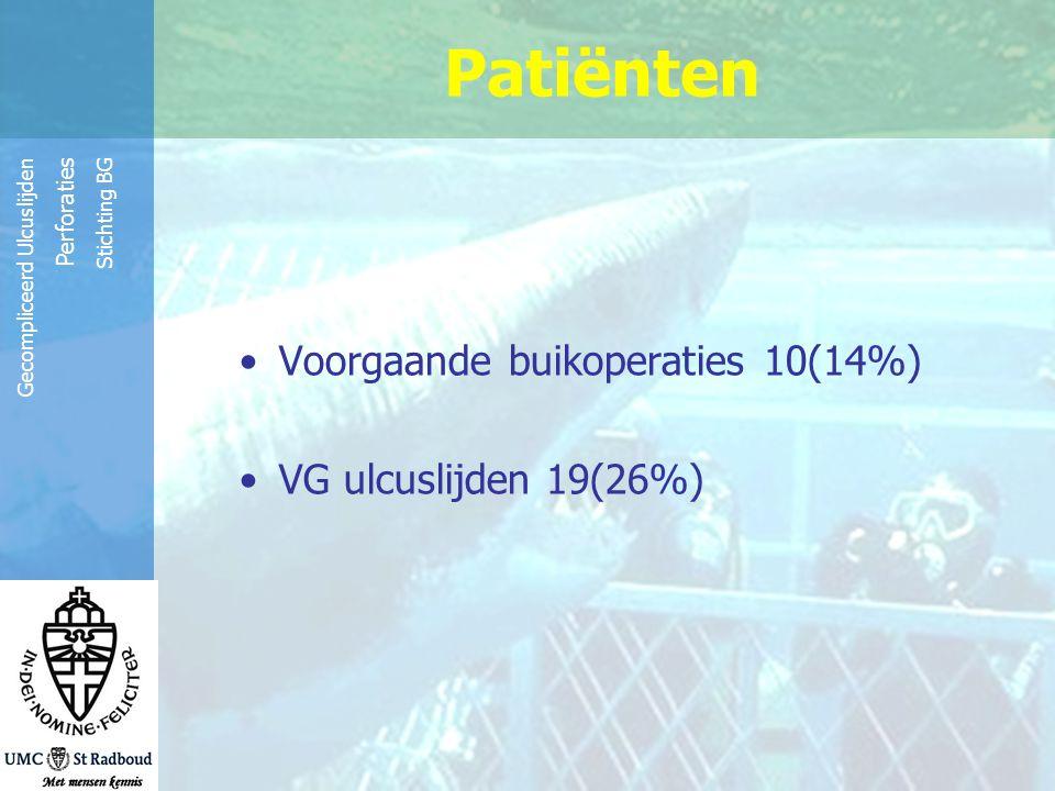 Reinier de Graaf Groep Gecompliceerd Ulcuslijden Perforaties Stichting BG Post-operatief beloop Mortaliteit 20% (n=14) Duur IC: mediaan 3 dgn (1-54) Duur opname: mediaan 8 dgn (1-185)