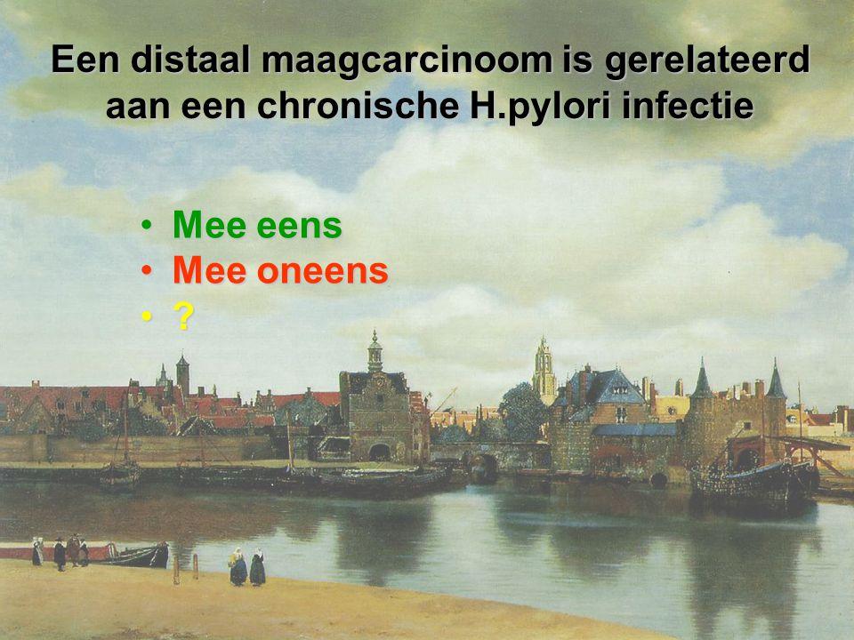 Een distaal maagcarcinoom is gerelateerd aan een chronische H.pylori infectie Mee eensMee eens Mee oneensMee oneens ?