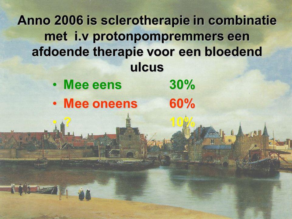 Anno 2006 is sclerotherapie in combinatie met i.v protonpompremmers een afdoende therapie voor een bloedend ulcus Mee eens 30%Mee eens 30% Mee oneens 60%Mee oneens 60% .