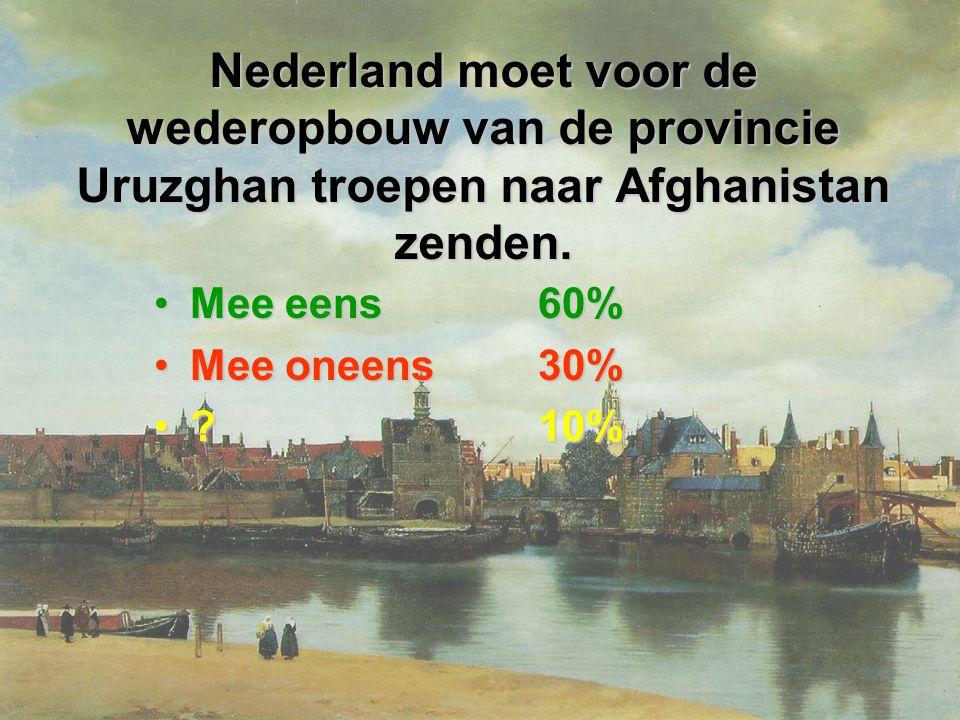 Nederland moet voor de wederopbouw van de provincie Uruzghan troepen naar Afghanistan zenden.
