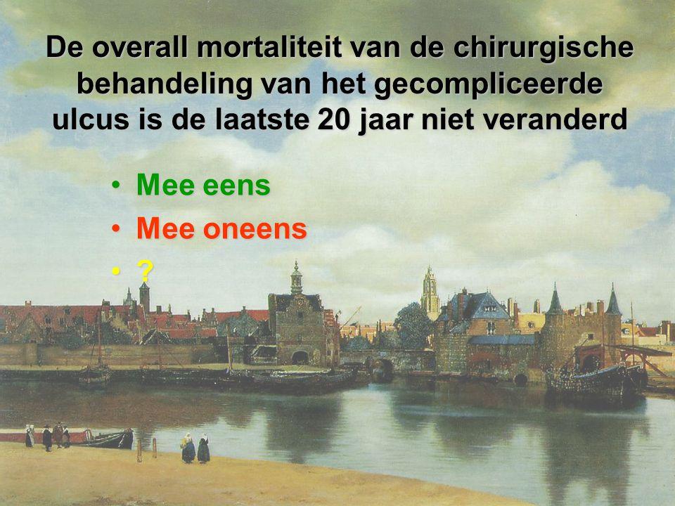 De overall mortaliteit van de chirurgische behandeling van het gecompliceerde ulcus is de laatste 20 jaar niet veranderd Mee eensMee eens Mee oneensMee oneens ?