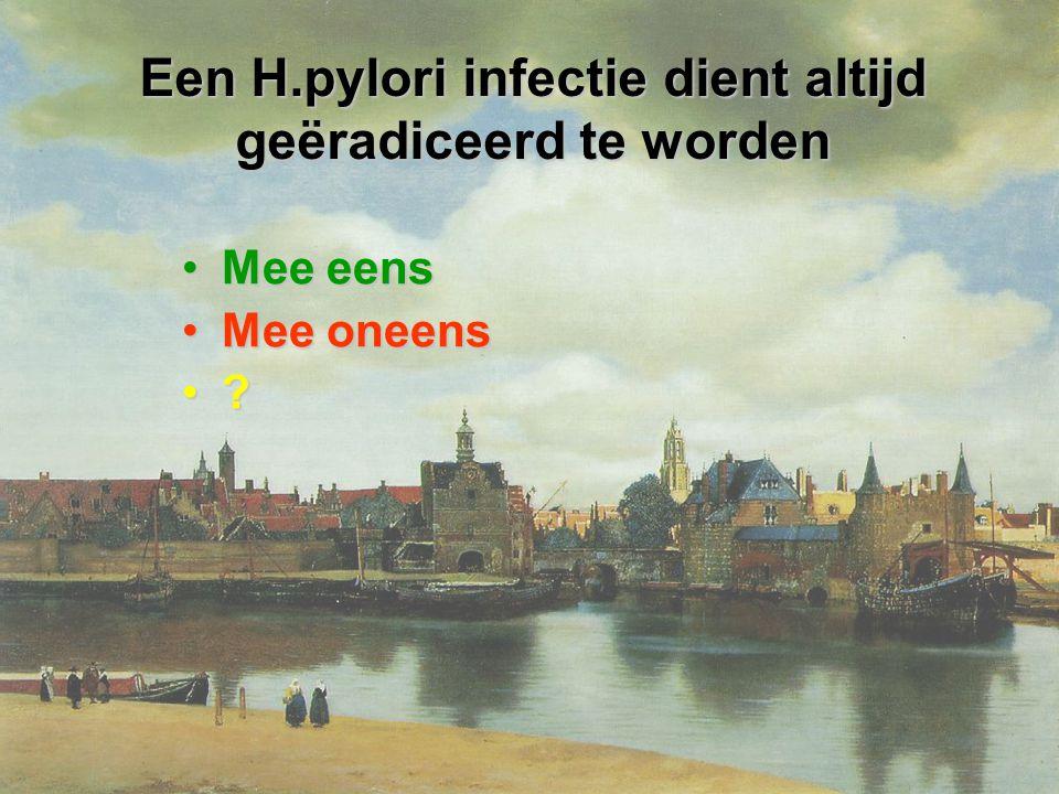 Een H.pylori infectie dient altijd geëradiceerd te worden Mee eensMee eens Mee oneensMee oneens ?