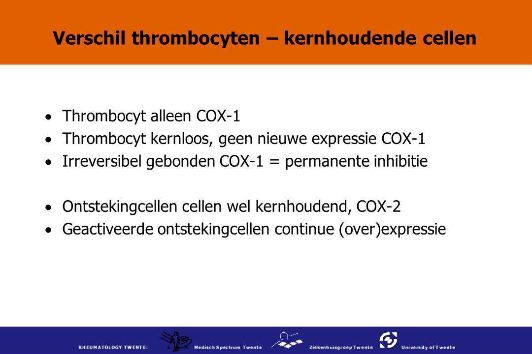 Verschil thrombocyten – kernhoudende cellen  Thrombocyt alleen COX-1  Thrombocyt kernloos, geen nieuwe expressie COX-1  Irreversibel gebonden COX-1