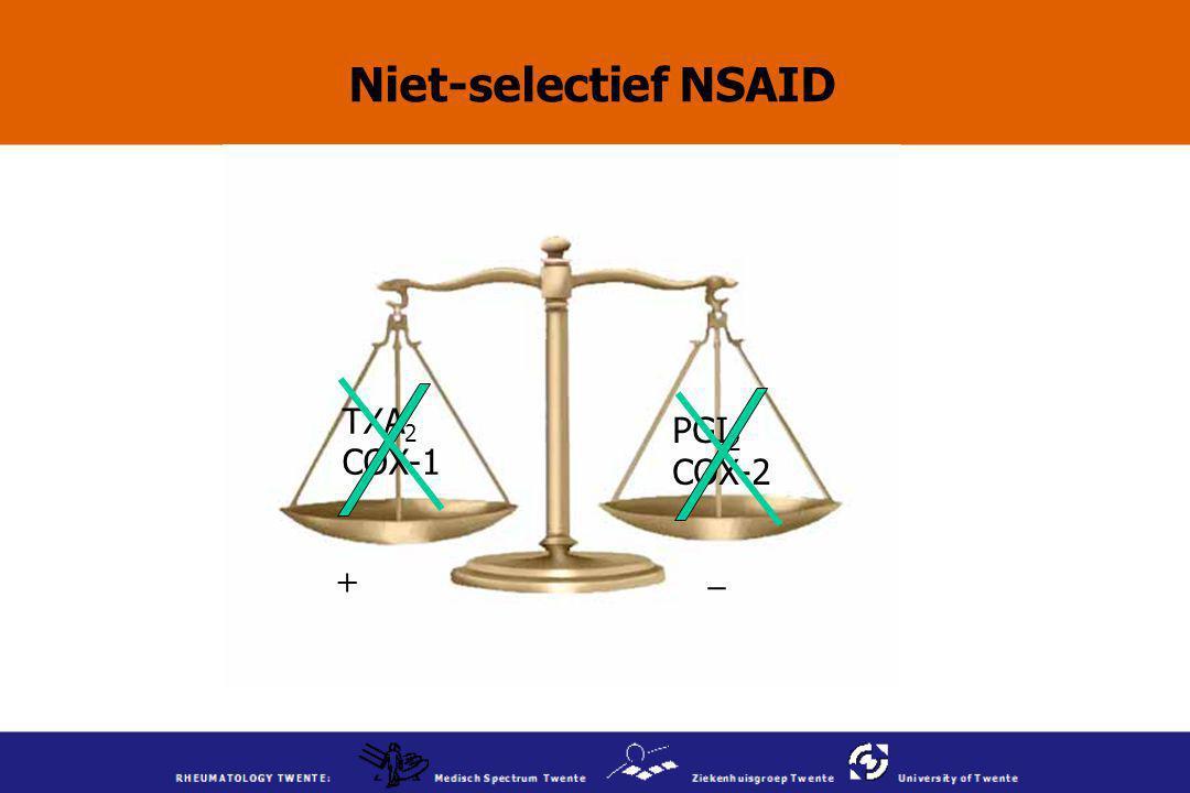 Niet-selectief NSAID TXA 2 COX-1 PGI 2 COX-2 + _