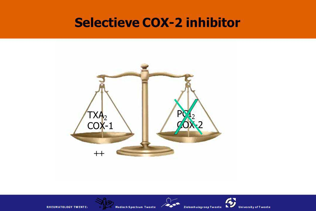 Selectieve COX-2 inhibitor TXA 2 COX-1 PGI 2 COX-2 ++