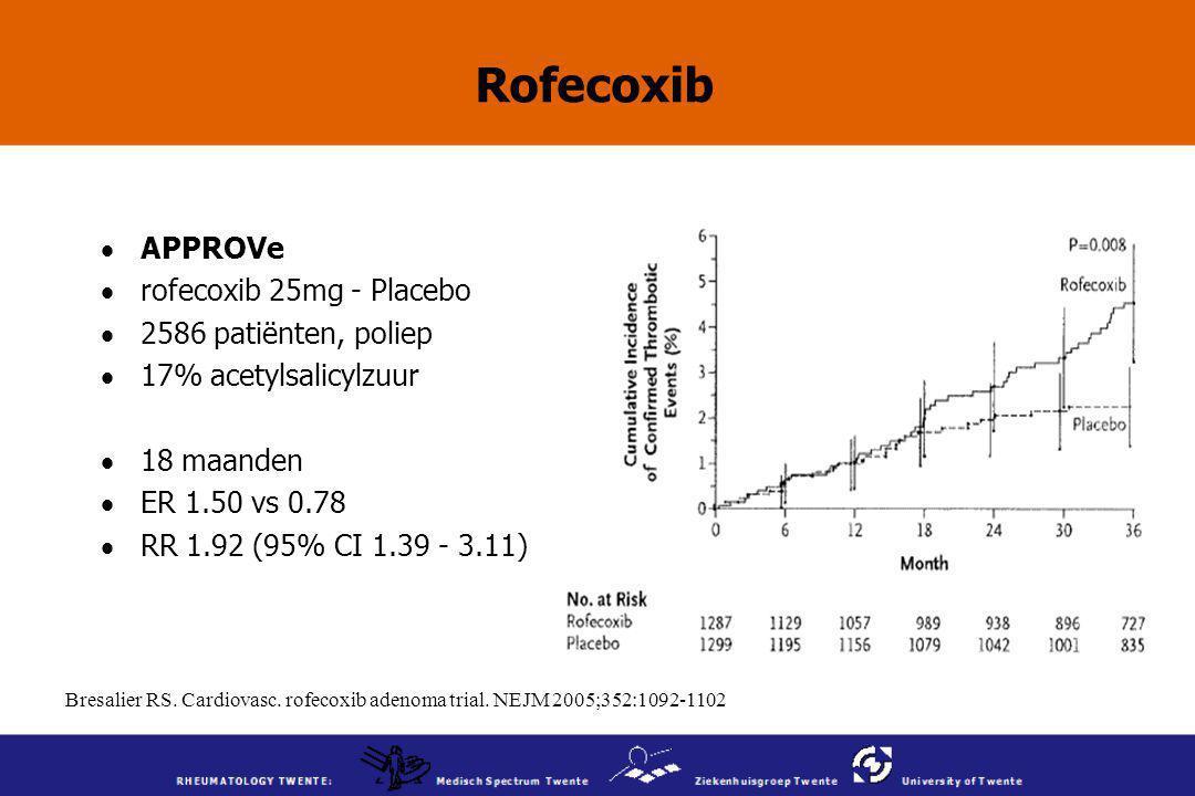 Bresalier RS. Cardiovasc. rofecoxib adenoma trial. NEJM 2005;352:1092-1102 Rofecoxib  APPROVe  rofecoxib 25mg - Placebo  2586 patiënten, poliep  1