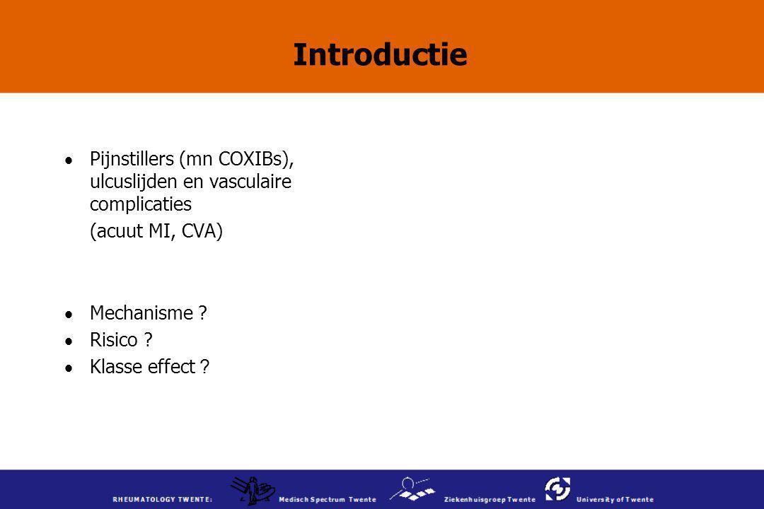 Introductie  Pijnstillers (mn COXIBs), ulcuslijden en vasculaire complicaties (acuut MI, CVA)  Mechanisme ?  Risico ?  Klasse effect ?