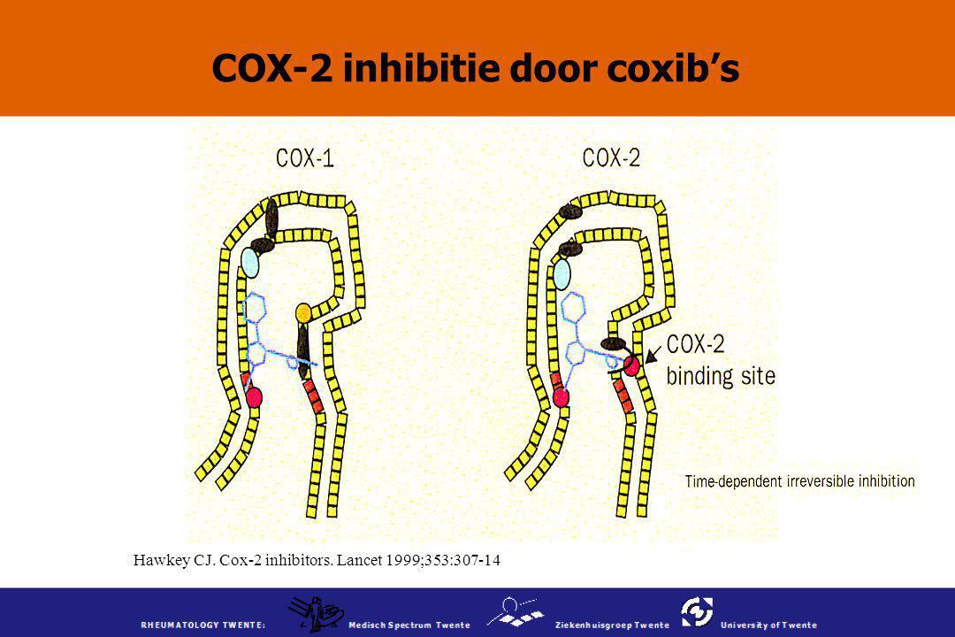 Hawkey CJ. Cox-2 inhibitors. Lancet 1999;353:307-14 COX-2 inhibitie door coxib's