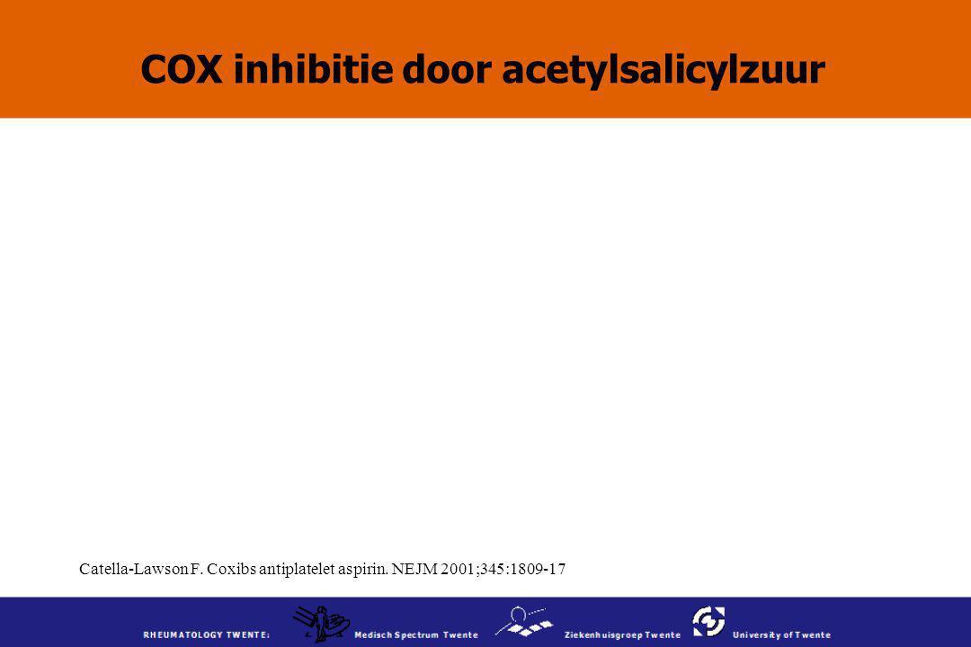 Catella-Lawson F. Coxibs antiplatelet aspirin. NEJM 2001;345:1809-17 COX inhibitie door acetylsalicylzuur
