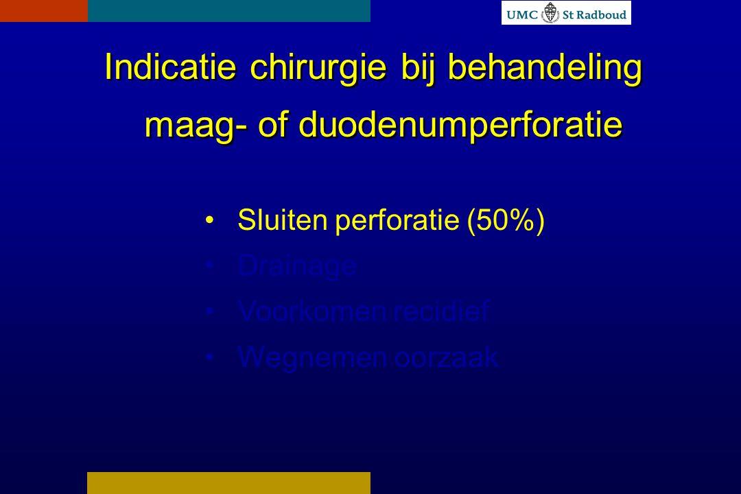 Indicatie chirurgie bij behandeling maag- of duodenumperforatie Sluiten perforatie (50%) Drainage Voorkomen recidief Wegnemen oorzaak