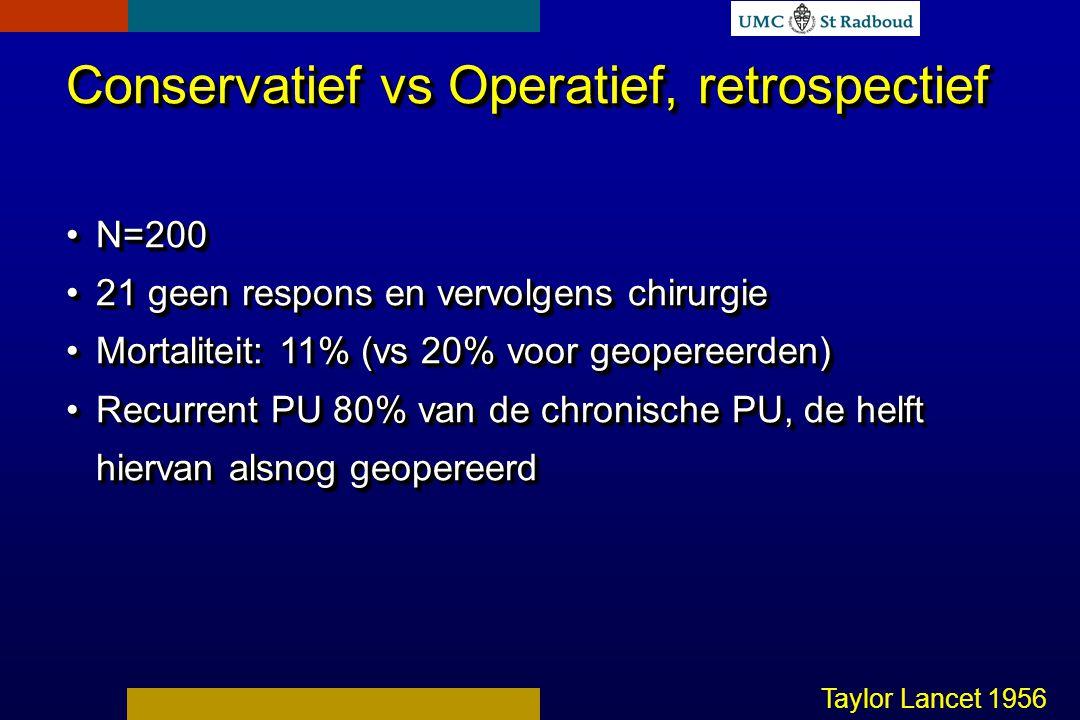 Conservatief vs Operatief, retrospectief N=200N=200 21 geen respons en vervolgens chirurgie21 geen respons en vervolgens chirurgie Mortaliteit: 11% (vs 20% voor geopereerden)Mortaliteit: 11% (vs 20% voor geopereerden) Recurrent PU 80% van de chronische PU, de helft hiervan alsnog geopereerdRecurrent PU 80% van de chronische PU, de helft hiervan alsnog geopereerd Conservatief vs Operatief, retrospectief N=200N=200 21 geen respons en vervolgens chirurgie21 geen respons en vervolgens chirurgie Mortaliteit: 11% (vs 20% voor geopereerden)Mortaliteit: 11% (vs 20% voor geopereerden) Recurrent PU 80% van de chronische PU, de helft hiervan alsnog geopereerdRecurrent PU 80% van de chronische PU, de helft hiervan alsnog geopereerd Taylor Lancet 1956