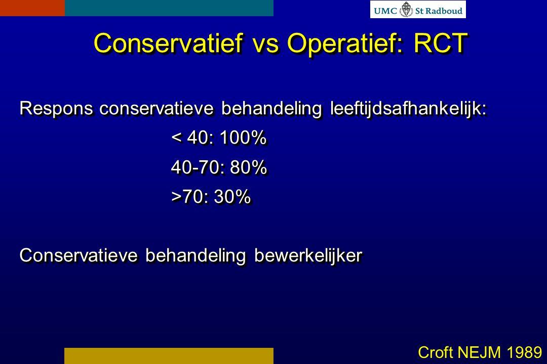 Conservatief vs Operatief: RCT Respons conservatieve behandeling leeftijdsafhankelijk: < 40: 100% 40-70: 80% >70: 30% Conservatieve behandeling bewerkelijker Conservatief vs Operatief: RCT Respons conservatieve behandeling leeftijdsafhankelijk: < 40: 100% 40-70: 80% >70: 30% Conservatieve behandeling bewerkelijker Croft NEJM 1989