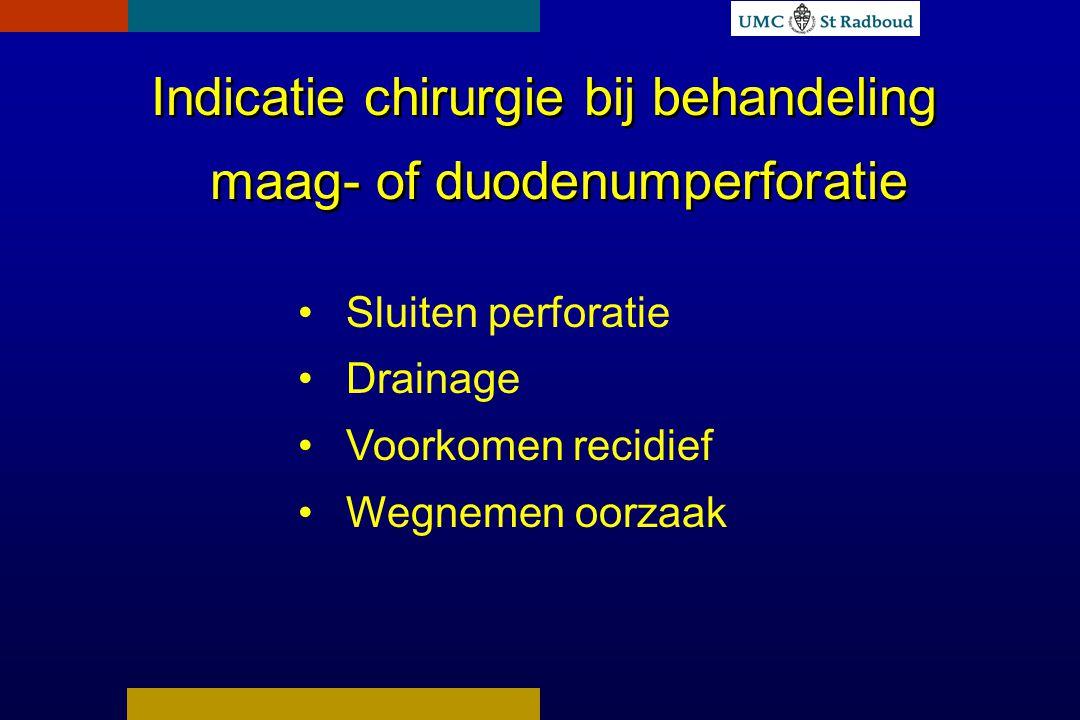 Indicatie chirurgie bij behandeling maag- of duodenumperforatie Sluiten perforatie Drainage Voorkomen recidief Wegnemen oorzaak