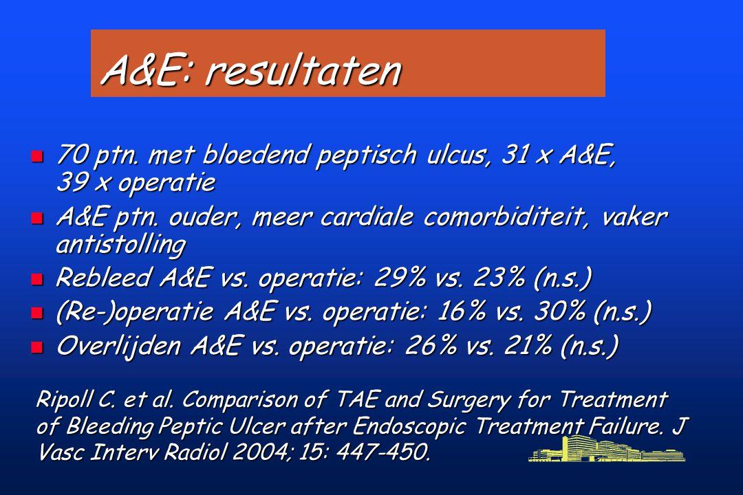 A&E: resultaten n 70 ptn.met bloedend peptisch ulcus, 31 x A&E, 39 x operatie n A&E ptn.
