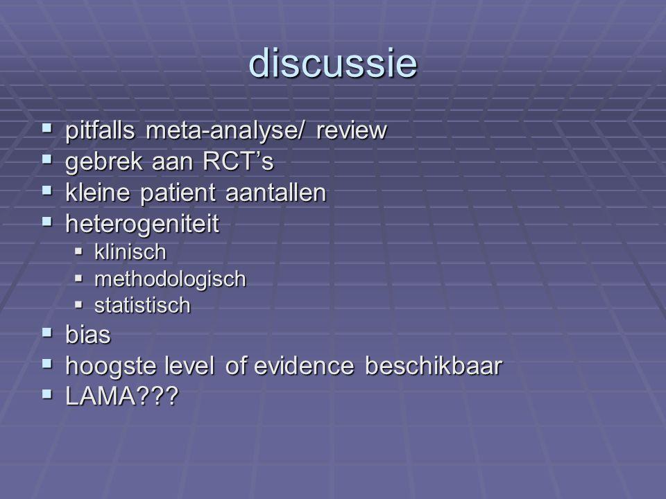 discussie  pitfalls meta-analyse/ review  gebrek aan RCT's  kleine patient aantallen  heterogeniteit  klinisch  methodologisch  statistisch  bias  hoogste level of evidence beschikbaar  LAMA???