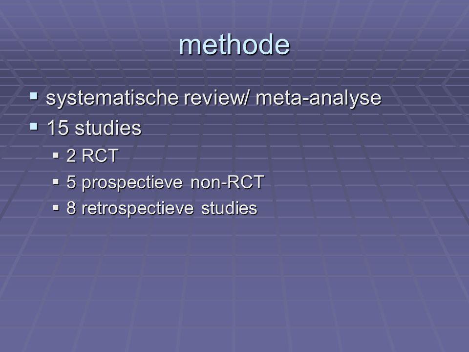 methode  systematische review/ meta-analyse  15 studies  2 RCT  5 prospectieve non-RCT  8 retrospectieve studies