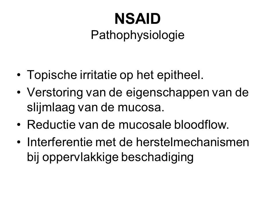 NSAID Pathophysiologie Topische irritatie op het epitheel. Verstoring van de eigenschappen van de slijmlaag van de mucosa. Reductie van de mucosale bl