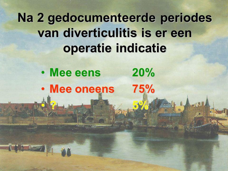 Na 2 gedocumenteerde periodes van diverticulitis is er een operatie indicatie Mee eens20%Mee eens20% Mee oneens75%Mee oneens75% ?5%?5%