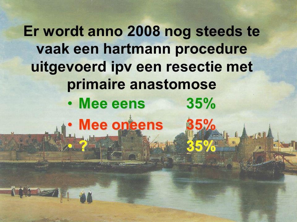 Er wordt anno 2008 nog steeds te vaak een hartmann procedure uitgevoerd ipv een resectie met primaire anastomose Mee eens35%Mee eens35% Mee oneens35%Mee oneens35% ?35%?35%