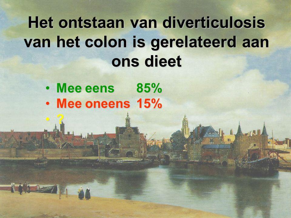 Het ontstaan van diverticulosis van het colon is gerelateerd aan ons dieet Mee eens 85%Mee eens 85% Mee oneens 15%Mee oneens 15% ?