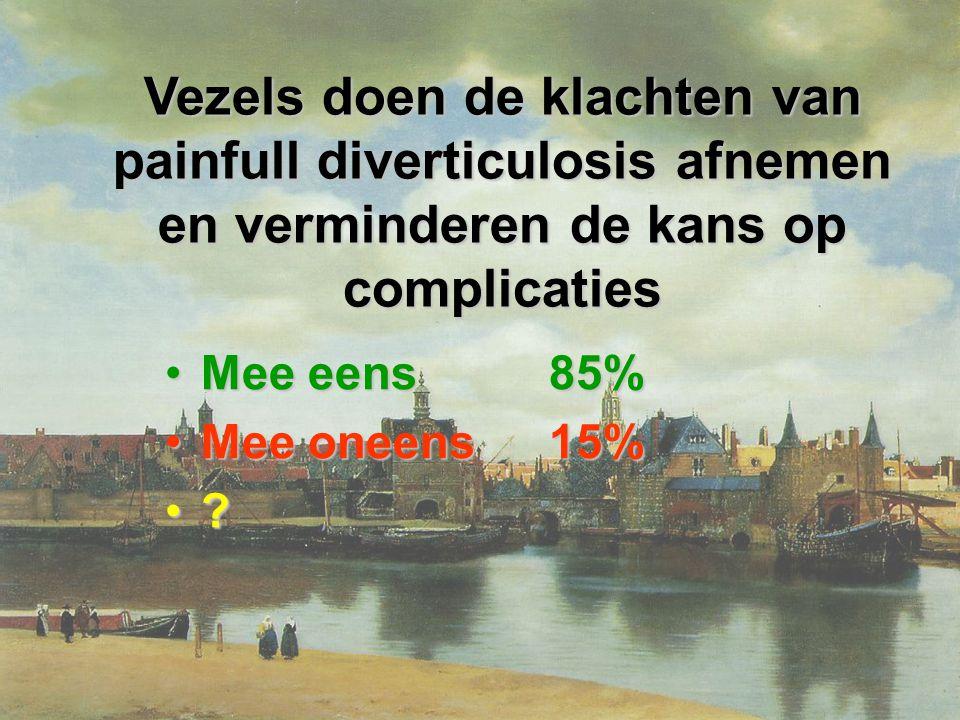 Er is een 8x zo hoge kans op laparoscopische behandeling van diverticulose bij een hoog-volume chirurg dan bij een laag-volume chirurg Mee eens33%Mee eens33% Mee oneens33%Mee oneens33% ?33%?33%