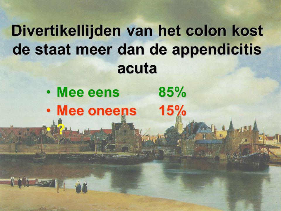 Divertikellijden van het colon kost de staat meer dan de appendicitis acuta Mee eens85%Mee eens85% Mee oneens15%Mee oneens15% ?